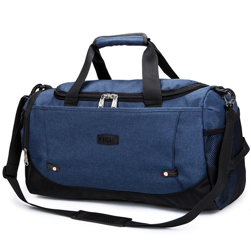 Large Capacity Men Hand Luggage Travel Weekend Bags Women Multifunctional Travel Bags Blue by UINTAGEE