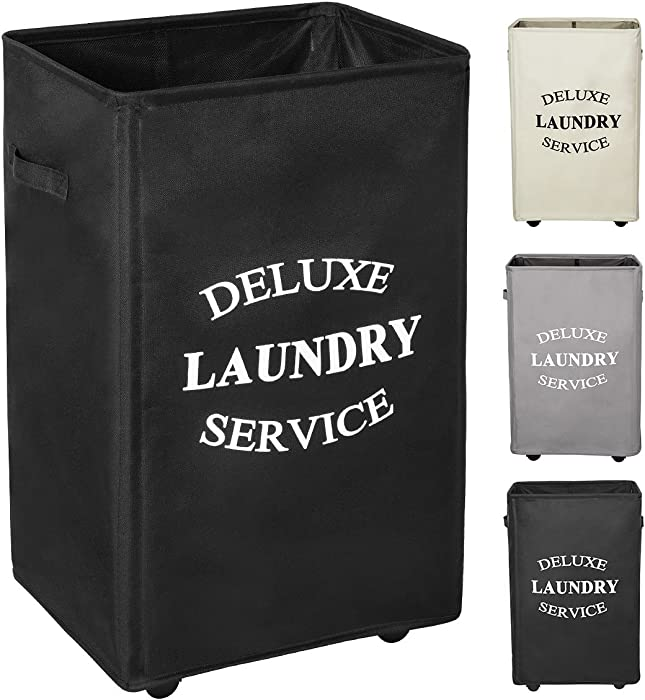 WOWLIVE 90L Large Rolling Laundry Hamper with Wheels Collapsible Laundry Basket on Wheels Durable Laundry Bag on Wheels Foldable Rectangular Hampers for Laundry (Black)