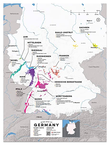 Map Of Germany To Print.Amazon Com Wine Folly Germany Wine Map Poster Print 12 X 16