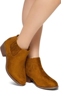 0f288a8b170 Herstyle ARLO Casual Western Ankle Bootie Elastic Side Panel Comfortable  Closed Toe Shoe Low Heel Slip