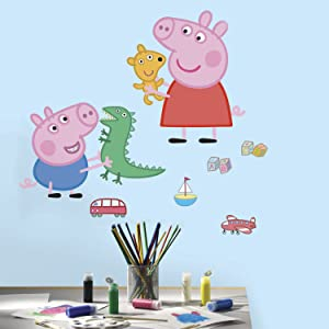RoomMates Peppa The Pig Peppa andGeorge Playtime Peel And Stick Giant Wall Decals - RMK3185GM