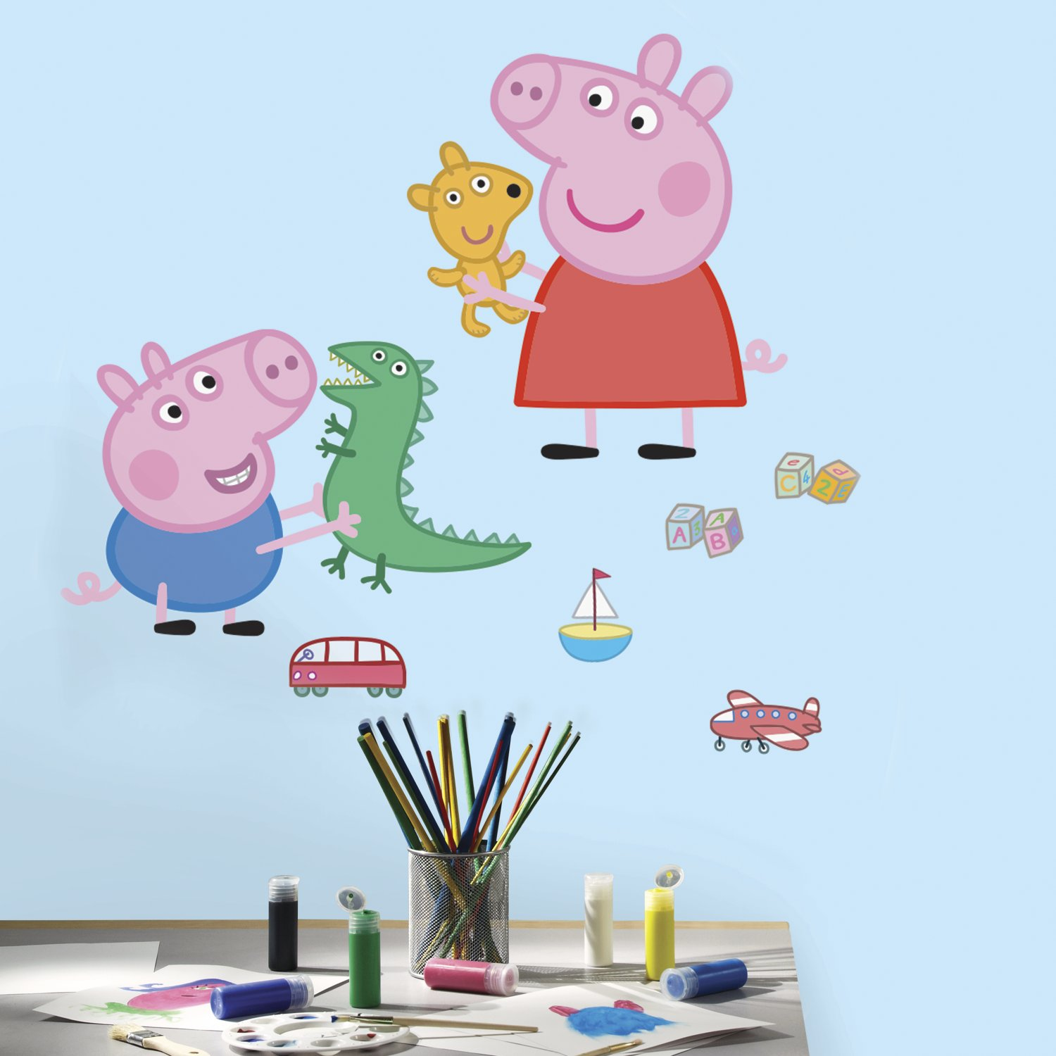 RoomMates RMK3185GM Peppa the Pig George Playtime Peel and Stick Giant Wall Decals York Wallcoverings