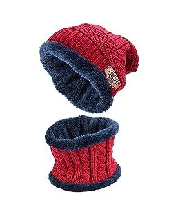 Ndier Bonnet Chapeau Tricot, Beanie Bonnet Chauffant Bonnet Tricot avec Écharpe de Doublure Polaire Homme Femme Unisexe Chapeau Beanie Chaud Écharpe (Rouge)