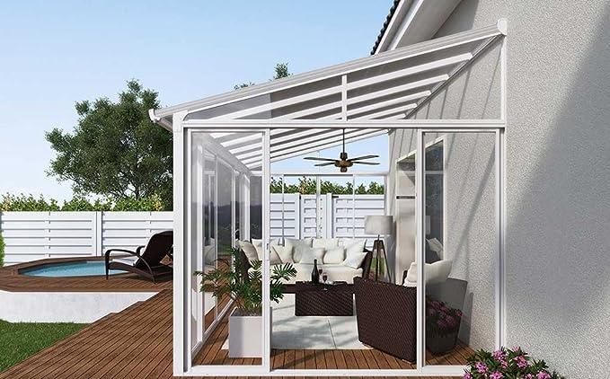 PEGANE - Pérgola de policarbonato. Terraza cubierta de color blanco 426 x 276 x 260 cm.: Amazon.es: Hogar