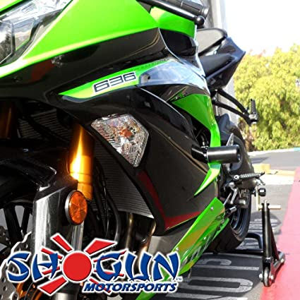 Shogun Kawasaki ZX6R ZX6RR ZX636 ZX6 2013-2018 White No Cut Frame Sliders MADE IN THE USA 750-4440