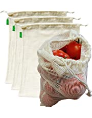 "AUXIN™,Reusable Grocery Cotton Mesh Produce Bags【Large 13"" x 15""】,100% Organic Cotton Vegetable/Fruit Storage Bags,Premium Quality,Ultra Strong,Food Grade,Replace Plastic,Eco-Bag (4 Bags)"
