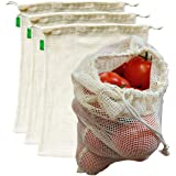 """AUXIN™,Reusable Grocery Cotton Mesh Produce Bags【Large 13"""" x 15""""】,100% Organic Cotton Vegetable/Fruit Storage Bags,Premium Quality,Ultra Strong,Food Grade,Replace Plastic,Eco-Bag (4 Bags)"""