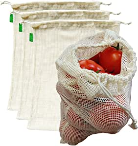 """AUXIN™,Reusable Grocery Cotton Mesh Produce Bags【Large 13"""" x 15""""】,100% Cotton Vegetable/Fruit Storage Bags,Premium Quality,Ultra Strong,Food Grade,Replace Plastic,Eco-Bag (4 Bags)"""