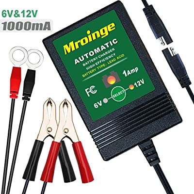 Mroinge MBC016 6V / 12V 1A Fully Automatic trickle Battery Charger/maintainer for Automotive Vehicle Motorcycle Lawn Mower ATV RV powersport Boat, Sealed Deep-Cycle AGM Gel Cell Lead Acid Batteries: Automotive