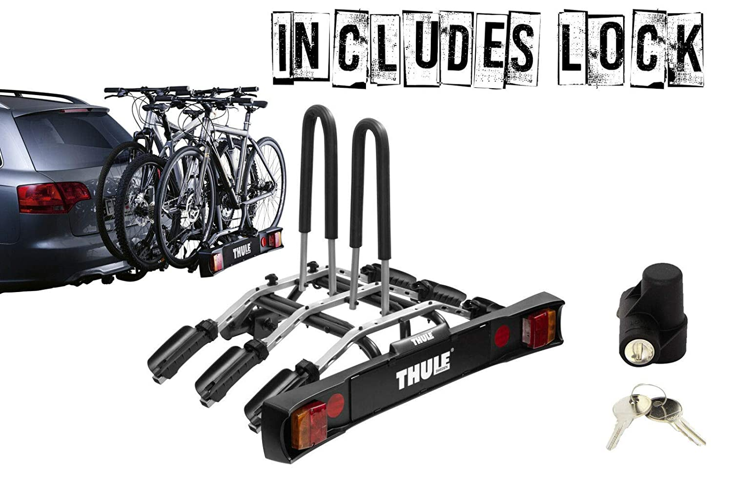 Includes Locks GL-Thule 9503 Towbar Cycle Carrier Rack Holds 3 Bikes
