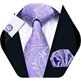 Barry.Wang Men Tie Set Solid Silk Necktie Pocket Square Cufflinks Extra Long Tie