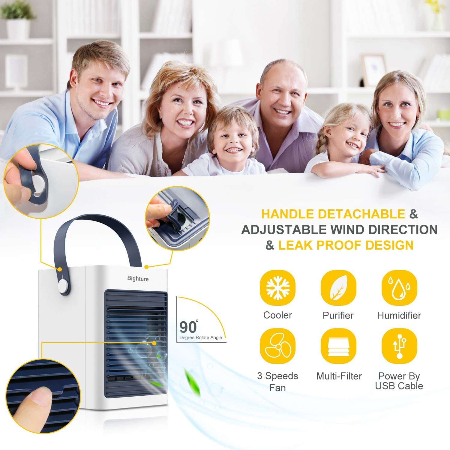 Not Include Battery) Air Conditioner Fan,USB Portable Air Cooler Small Desktop Cooling Fan Humidifier Purifier Noiseless Evaporative Air Humidifier for Room Office Desktop Nightstand