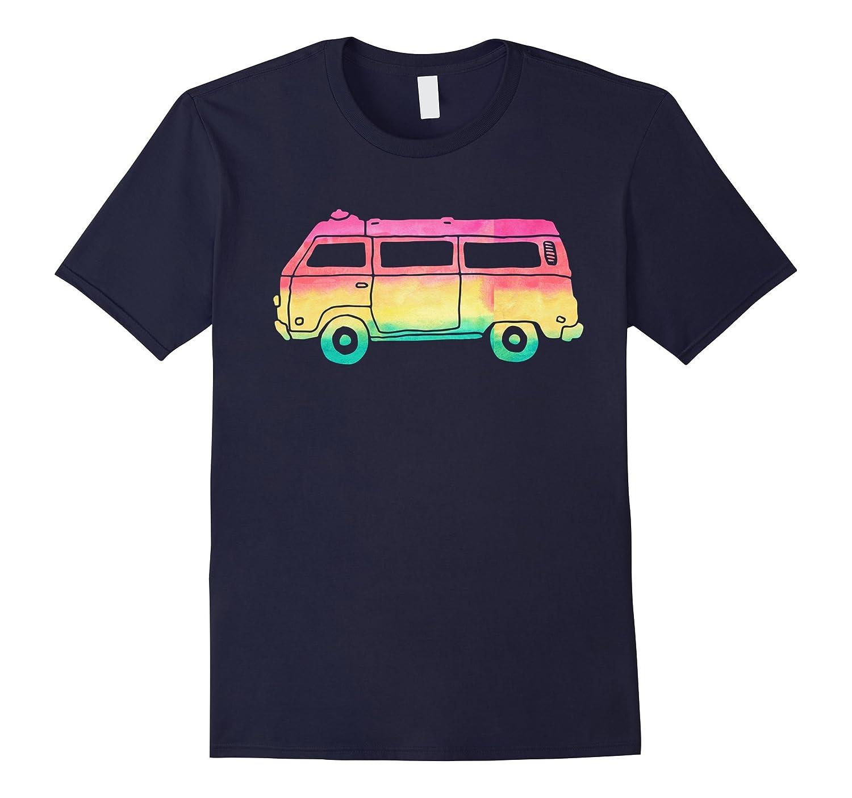 Cute Hippie Camper Van Rainbow Watercolor Boho Pink T Shirts-PL