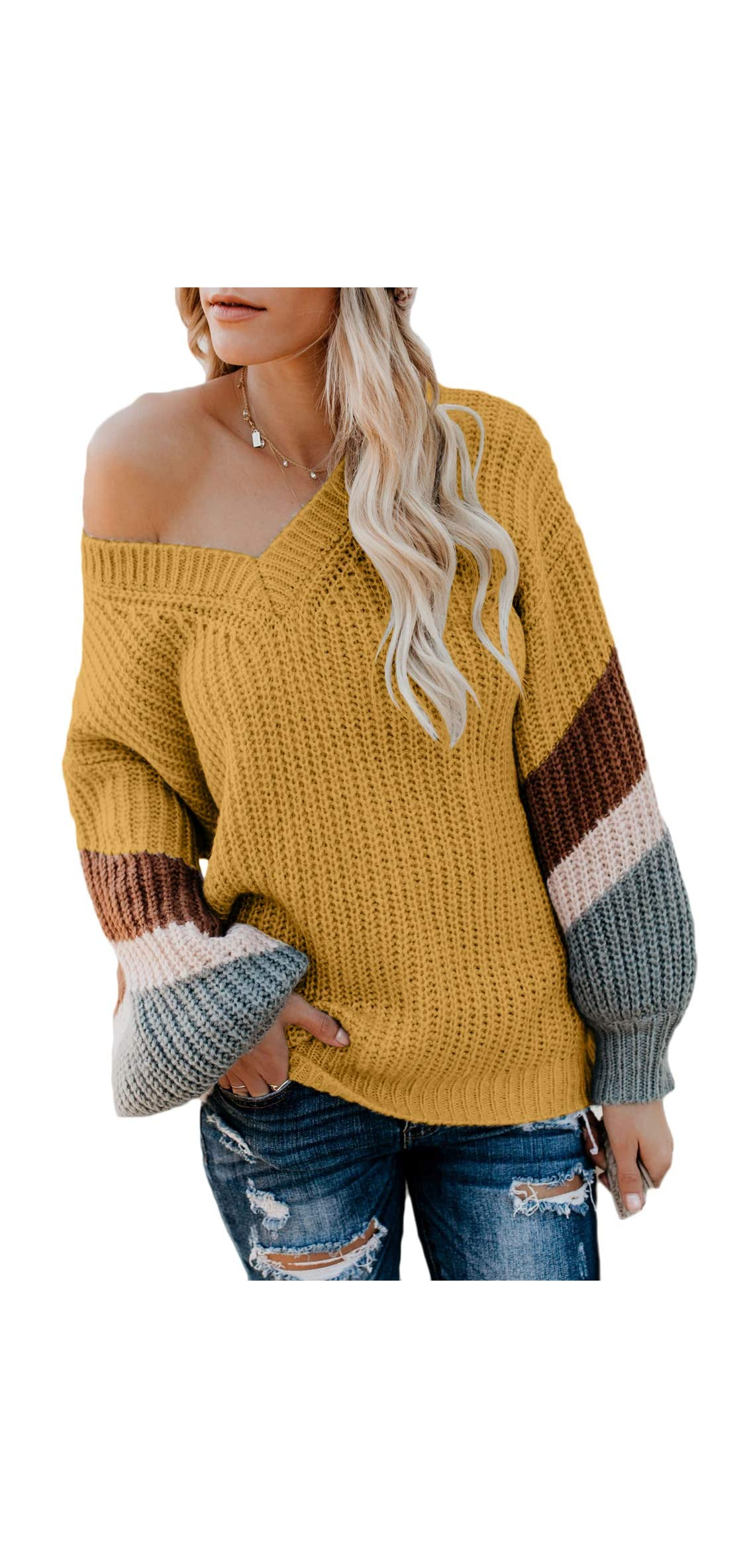 Women's V Neck Long Sleeve Striped Knitted Chunky Sweater