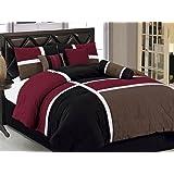 Luxlen 7 Piece Luxury Bed in Bag Comforter Set, Cal King, Red/Black