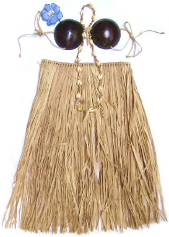 Costume Set Hawaiian Grass Skirt with Coconut Bra and Flower Lei Beige Brown