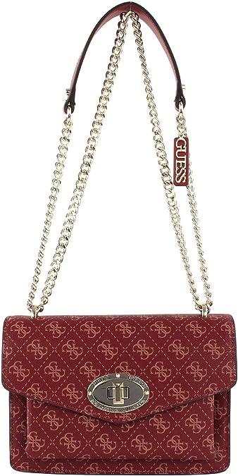 HANDTASCHE FRAU GUESS Rot Aline Druck Logo Tasche mit Zwei
