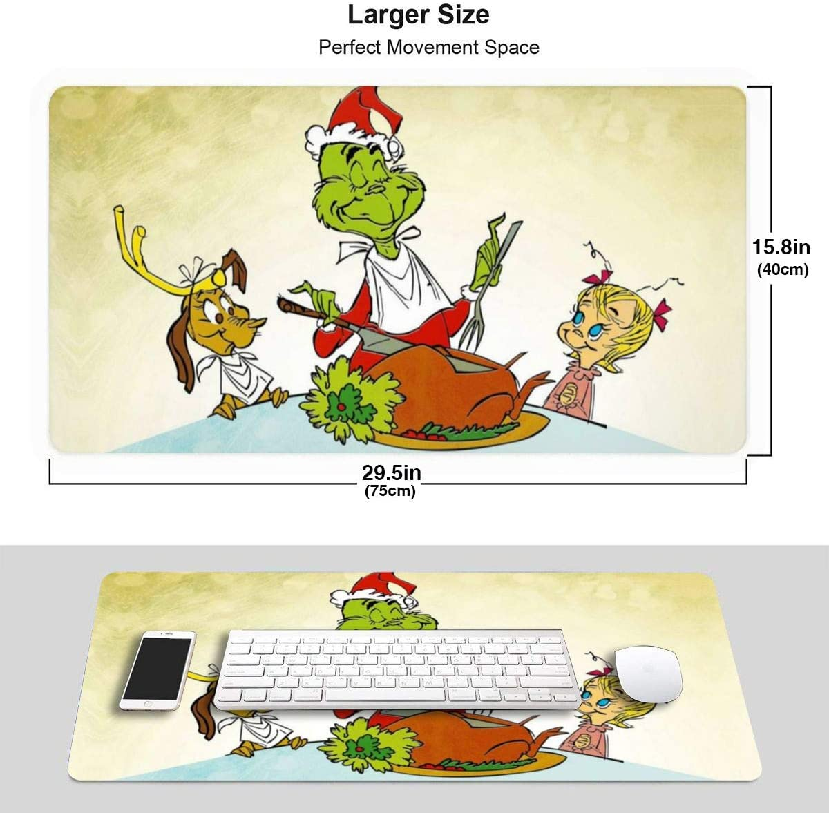 Dr Seuss How The Grinch Stole Christmas Happy Mouse Pad Rectangle Non-Slip Rubber Gaming//Working Geek Mousepad Comfortable Desk Mouse Pad 15.8x29.5 in
