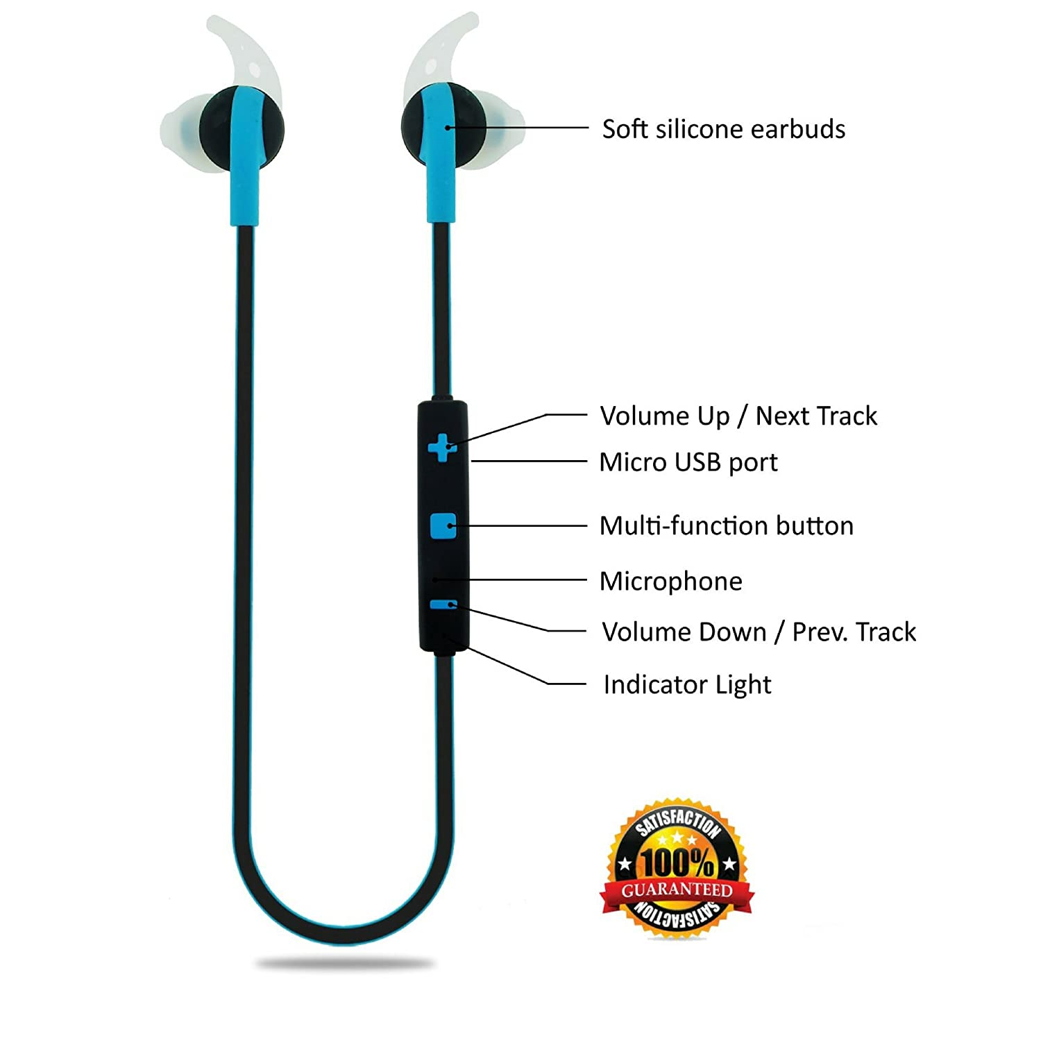 Wireless In-Ear Headphones Sweatproof Earbuds with Microphone for Phone Calls – Best Headset Earphones for Running Exercise Sport Gym on iPhone 6 6s Plus 5C 5S Android Samsung Galaxy S6 S5