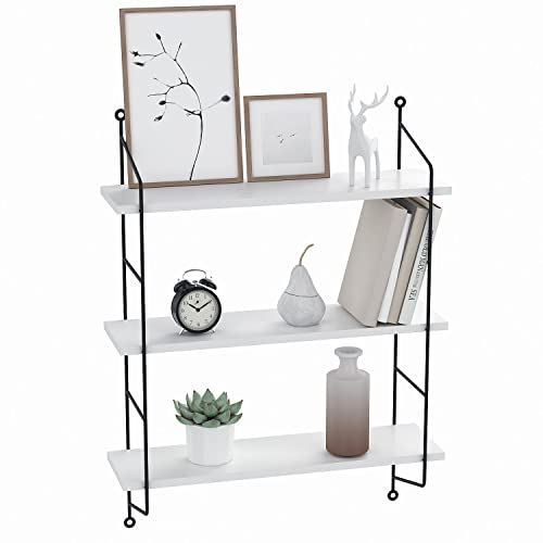 Floating Shelves Wall Mounted, Industrial Metal Frame Wood Wall Storage Shelves for Bedroom, Living Room, Bathroom, Kitchen, Office and More, 3 Tier White