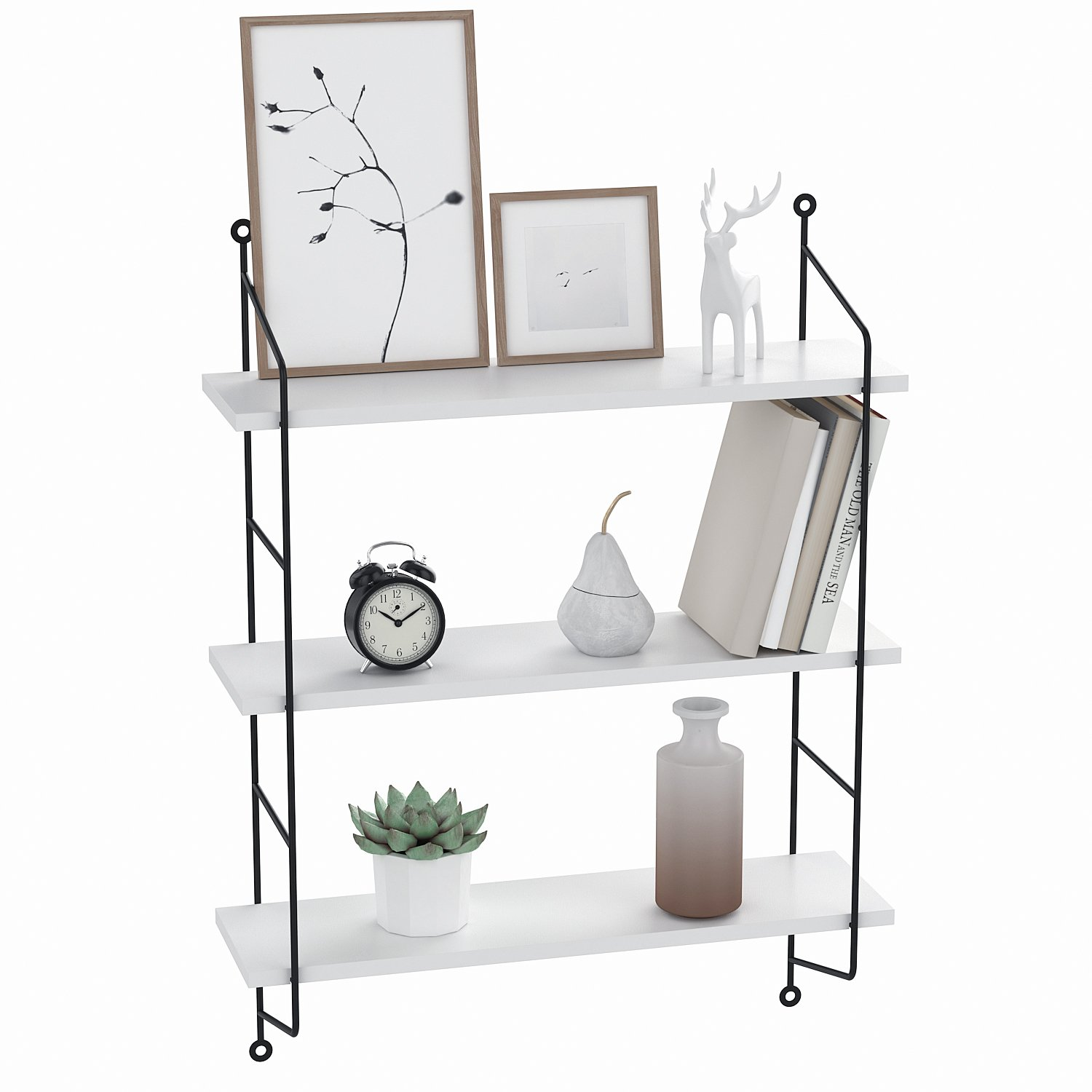 Floating Shelves Wall Mounted, Industrial Metal Frame Wood Wall Storage Shelves for Bedroom, Living Room, Bathroom, Kitchen, Office and More, 3 Tier(White)