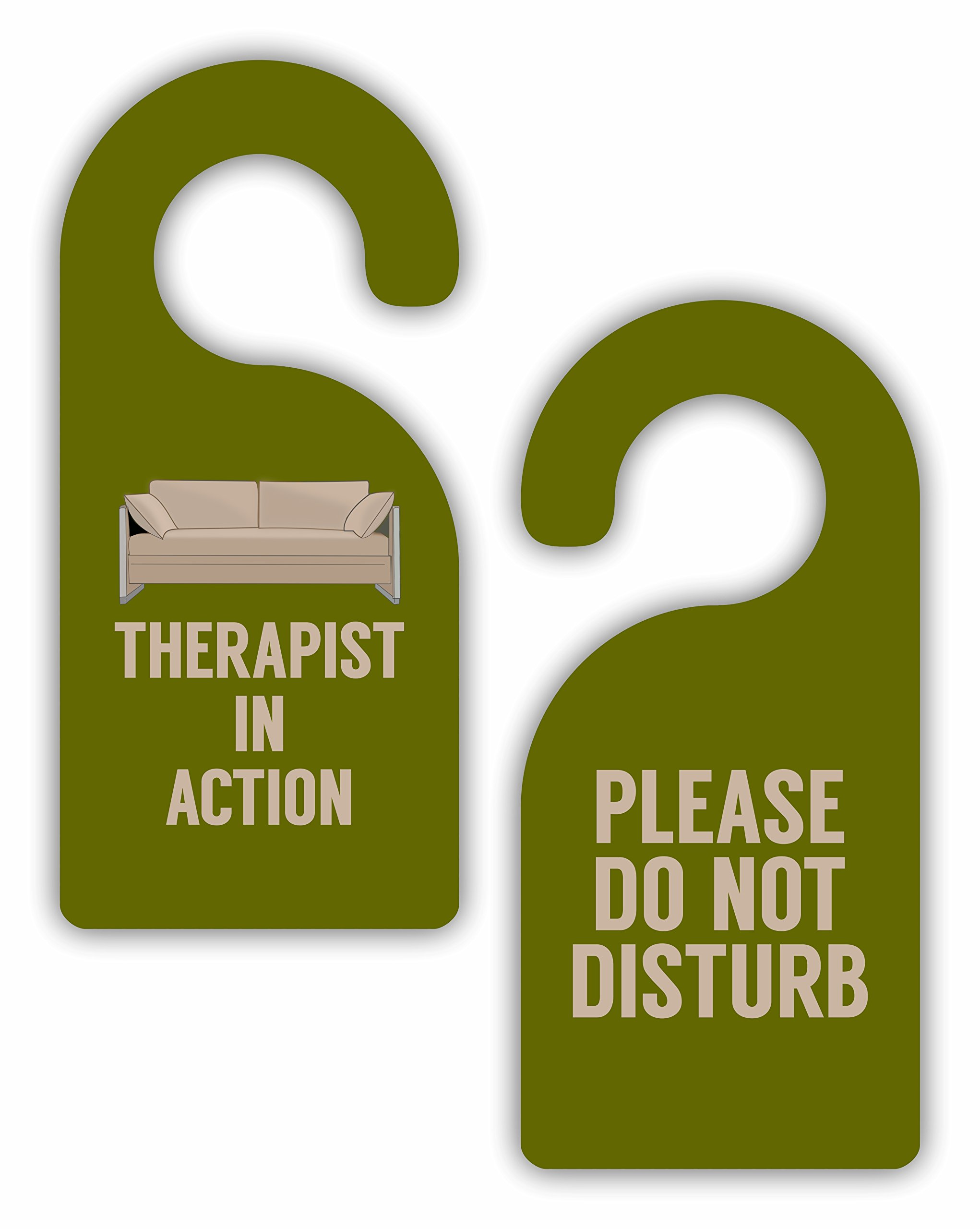 Therapist in Action/Please Do Not Disturb - Social Work - Psychology - Double-Sided Hard Plastic Glossy Door Hanger