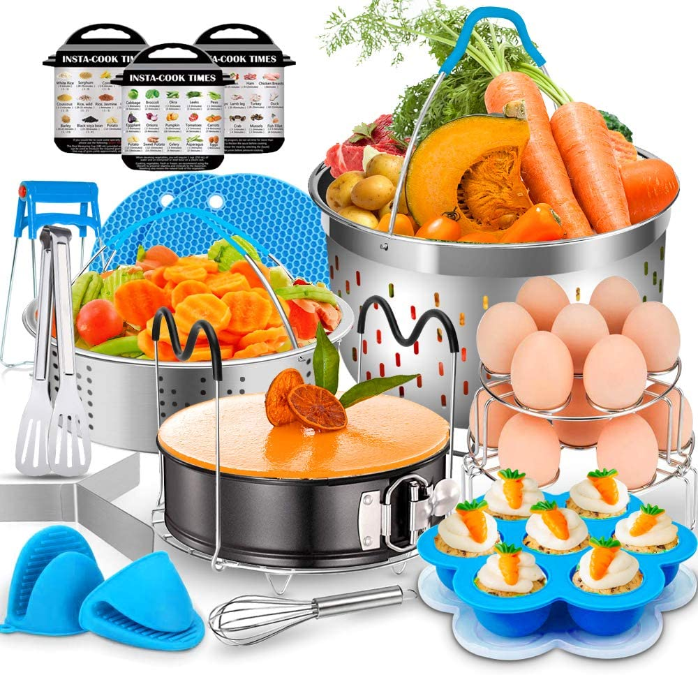 17 Pcs Accessories for Instant Pot, EAGMAK 6, 8 Qt Pressure Cooker Accessories - 2 Steamer Baskets, Non-stick Springform Pan, Egg Bites Mold, Egg Rack, Steamer Trivet, Egg Beater, Oven Mitts (Blue)
