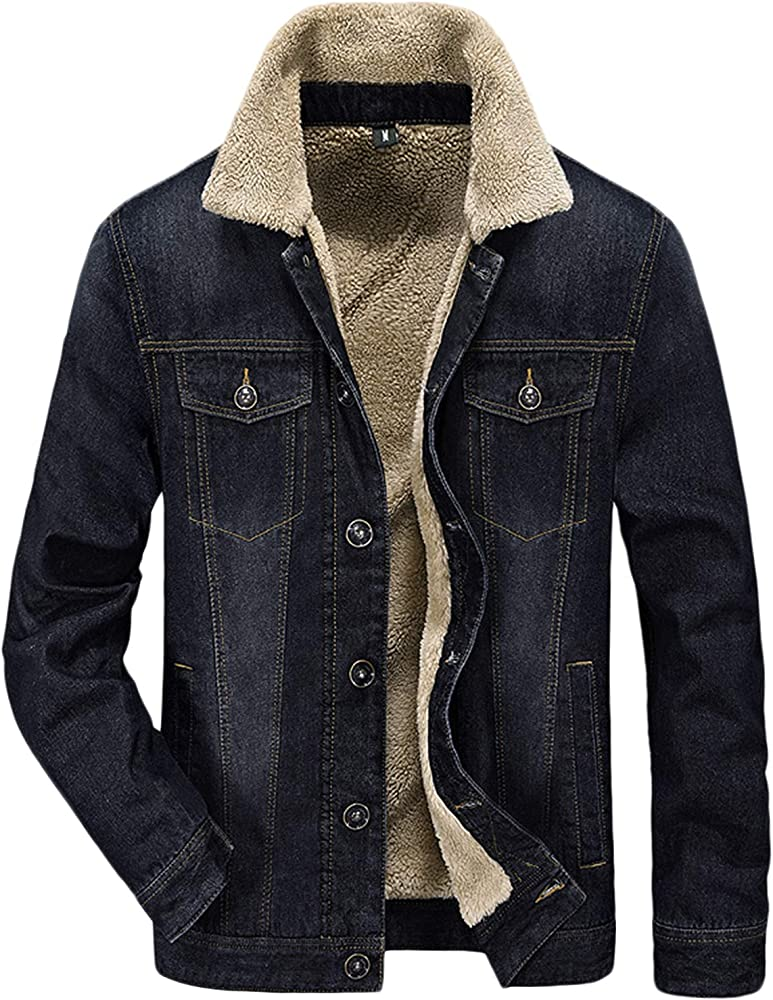 choose clearance laest technology novel style Men's Plus Cotton Warm Fur Collar Sherpa Lined Denim Jacket Button Down  Classy Casual Quilted Jeans Coats Outwear