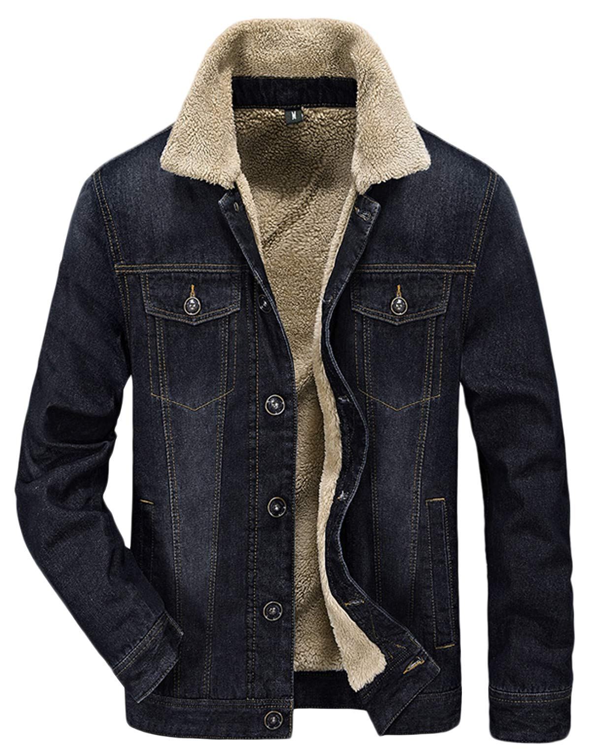 HOW'ON Men's Plus Cotton Warm Fur Collar Sherpa Lined Denim Jacket Button Down Classy Casual Quilted Jeans Coats Outwear Black L by HOW'ON