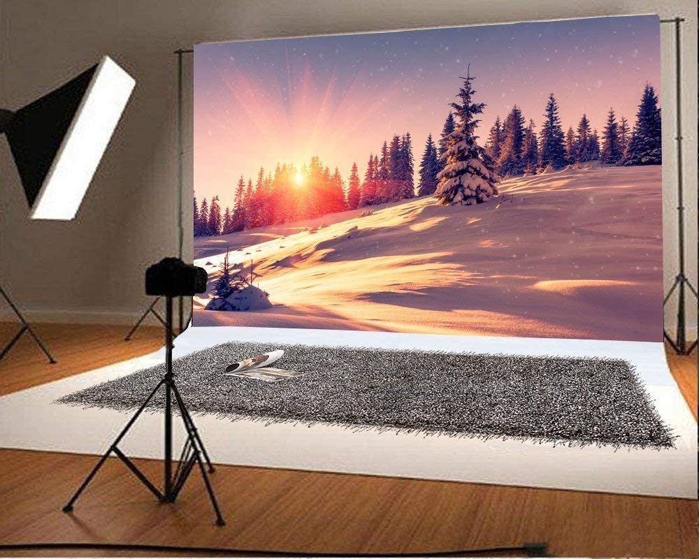 10x8ft Winter Sunrise Landscape Backdrop Sunshine Mountains Snow-Covered Conifer Trees Snowflakes Background for Photography Christmas New Year Party Kids Adult Portraits Shoots Studio Props