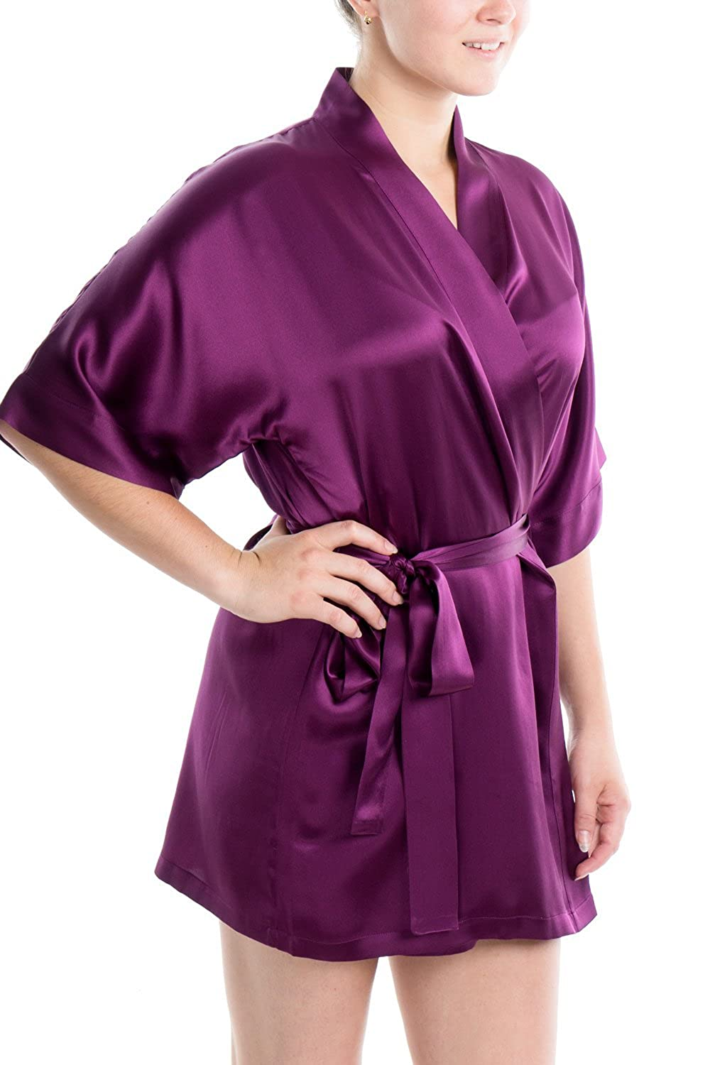 Ruby Wine OSCAR ROSSA Women's Luxury Silk Sleepwear 100% Silk Sexy Short Robe Kimono
