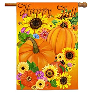 Bonsai Tree Happy Fall Flags 28x40 Double Sided, Autumn Harvest Pumpkins Decorative Garden Flag, Primitive Sunflowers Welcome Yard Flags Rustic Outdoor Decor Signs