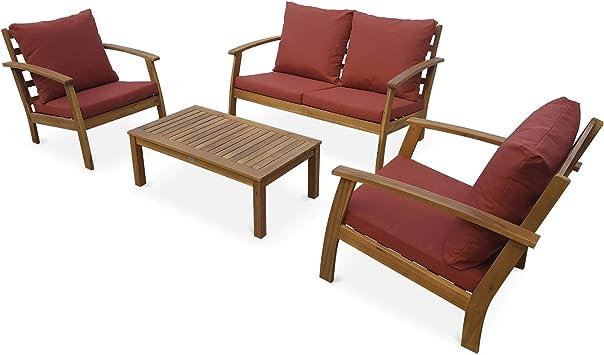 Salon de Jardin en Bois 4 Places - Ushuaïa - Coussins Terracotta, canapé,  fauteuils et Table Basse en Acacia, Design