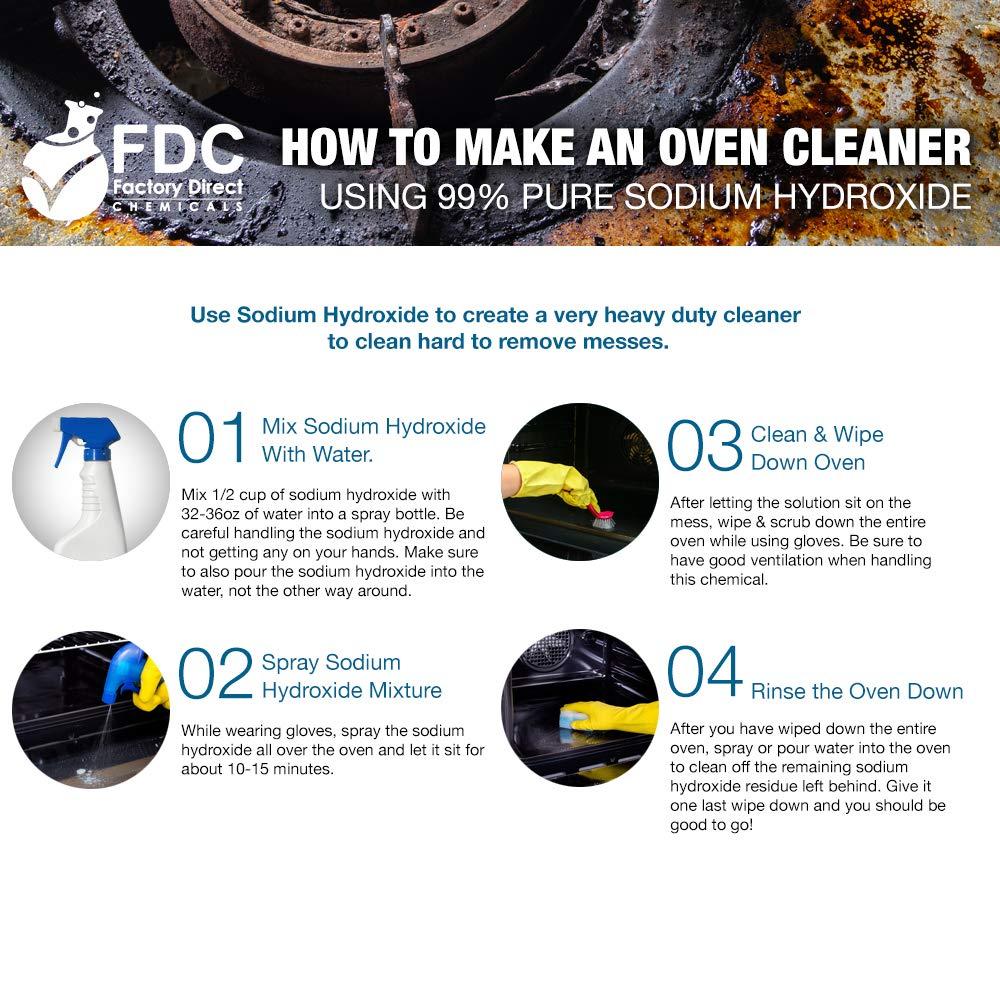FDC Pure Sodium Hydroxide Lye for Soap Making | Lye Drain Opener | Caustic Soda Beads | Pure Lye - 6 x 2 LB Jar Case by FDC (Image #3)