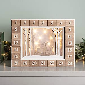 Lights4fun, Inc. Pre Lit Battery Operated LED Wooden Reindeer Christmas Advent Calendar with Drawers