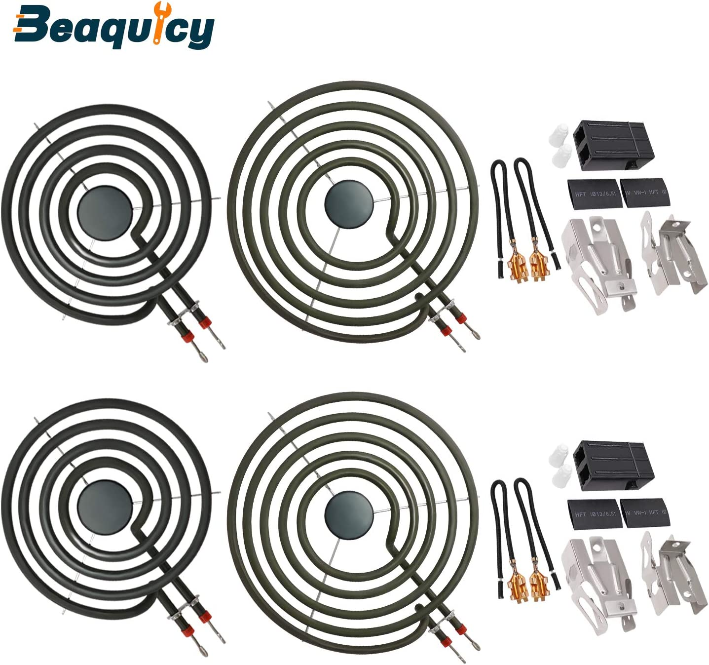 "MP22YA Electric Range Burner Element Unit Set(2 pcs MP15YA 6"" & 2 pcs MP21YA 8"") with 2 Pack 330031 Surface Element Receptacle Kit by Beaquicy - Replacement for Kenmore Whirlpool Ranges Stoves"