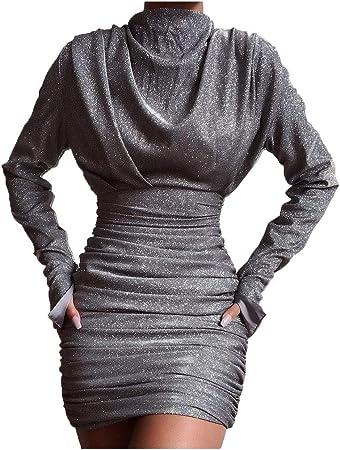 Vestido De Mujer Lentejuelas De Moda Cuello Alto Vestido De Abrigo De Color SóLido