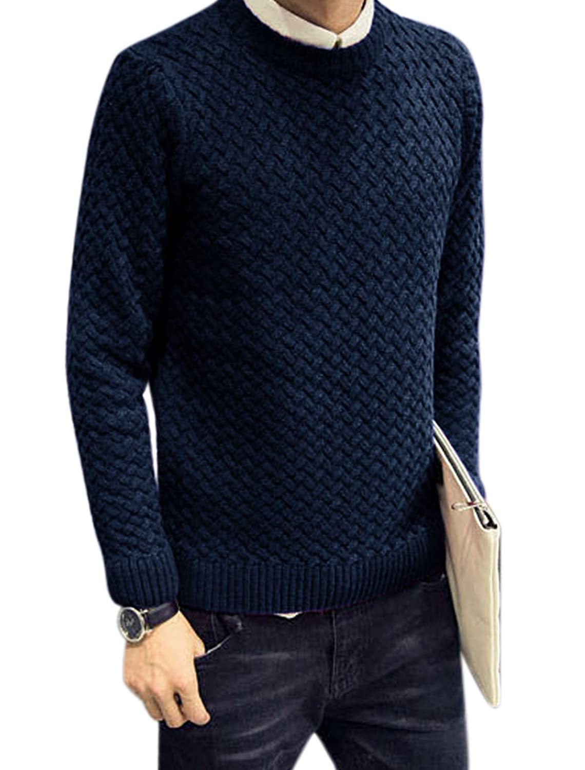 Men Crew Neck Long Sleeves Textured Casual Sweater