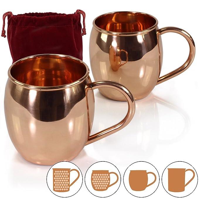 4 opinioni per Amazy Tazze da Moscow Mule (2 pezzi) incl. sacchetto protettivo – Bicchieri da