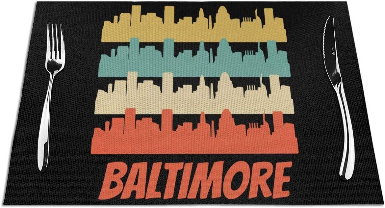 Black-Sky Aislamiento de Mantel Retro Tejido Baltimore MD Skyline, Resistente a Las Manchas, Juego de tapetes de Mesa de 6 (45X30cm)