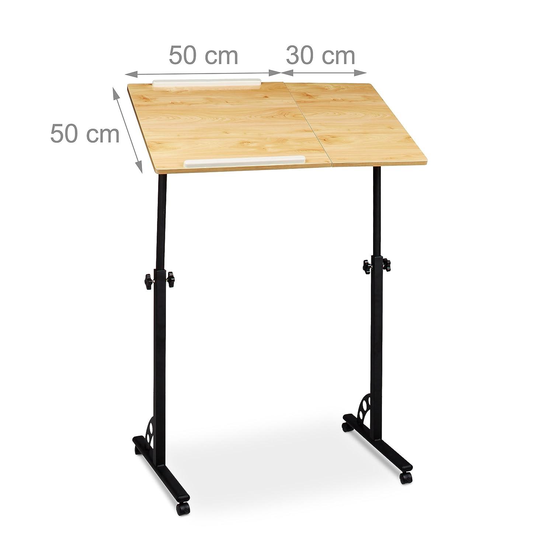 110 x 80 x 50 cm hauteur r/églable roulettes table bout de canap/é table de lit bureau informatique Relaxdays Table ordinateur portable HxlxP bois ch/êne nature