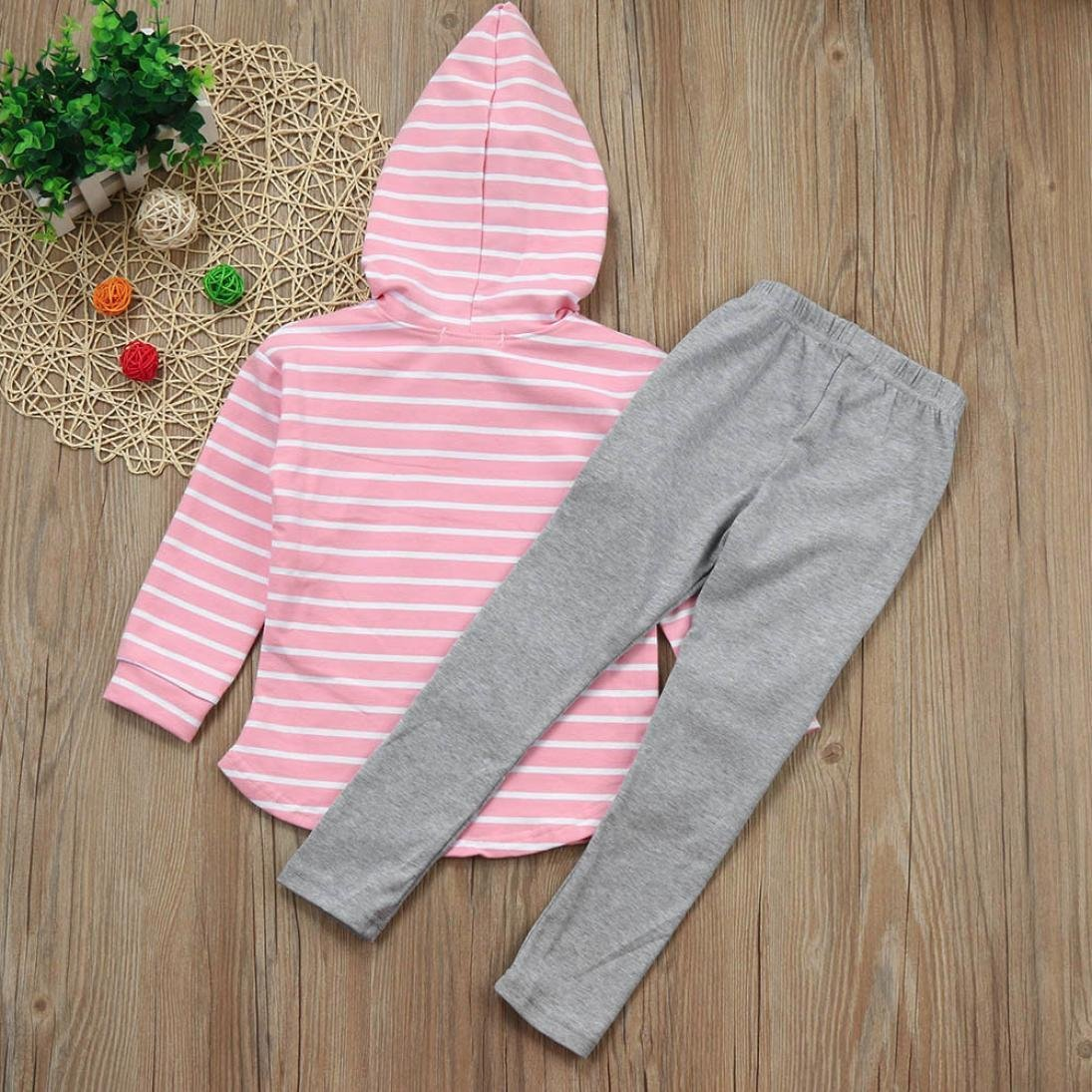 2pcs Toddler Baby Boy Girl Autumn Stripe Hoodie Sweatshirt Long Sleeve Tops + Patch Pants Clothes Set Outfits (Pink, 3T) by Aritone - Baby Clothes (Image #4)