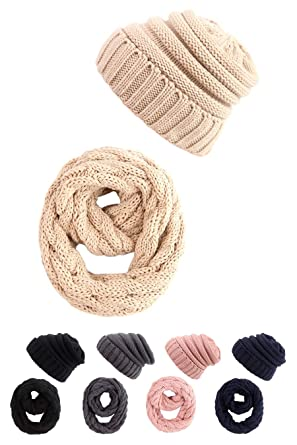 275f8679a09 STYLE SLICE Cable Knit Hat and Scarf Sets Mens Womens Unisex - Beanie Circle  Loop Infinity Scarfs Neck Warmer ...