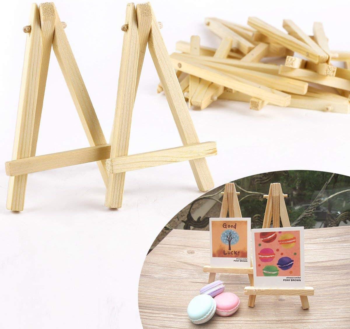 Mini chevalet tr/épied en bois de pin naturel de qualit/é 12 x 7 cm pour exposer des toiles de petite /à moyenne taille.