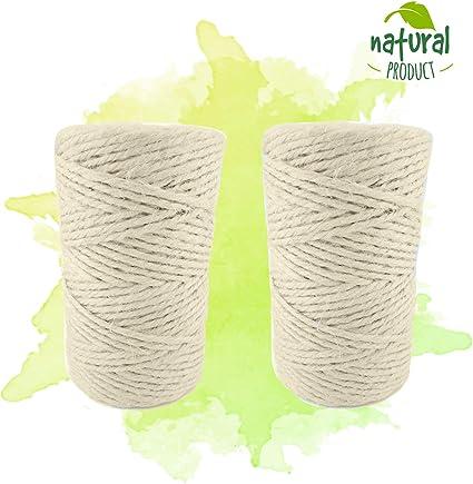 ProGoods Cuerda de yute natural de 2 mm de diámetro, resistente al ...