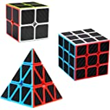 D.F.L Speed Cubes Set 3 Pack, Speed Cubes Bundle,Magic Cube Set,3D Puzzles Rubix Cube Carbon Fiber 2x2x2 3x3x3 Triangle Pyramid Cube Smooth Party Favors Puzzle Cube Toys Games for Kids Adult Gift