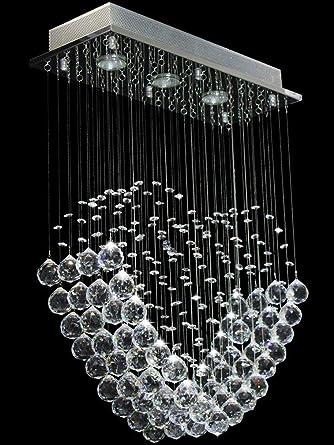 HT Moderne Tropfen Transparent Regen Decke Mit 3 Leuchten Für Esszimmer Abgehängte  Decke Kronleuchter Lichter Glaskristalljuwel