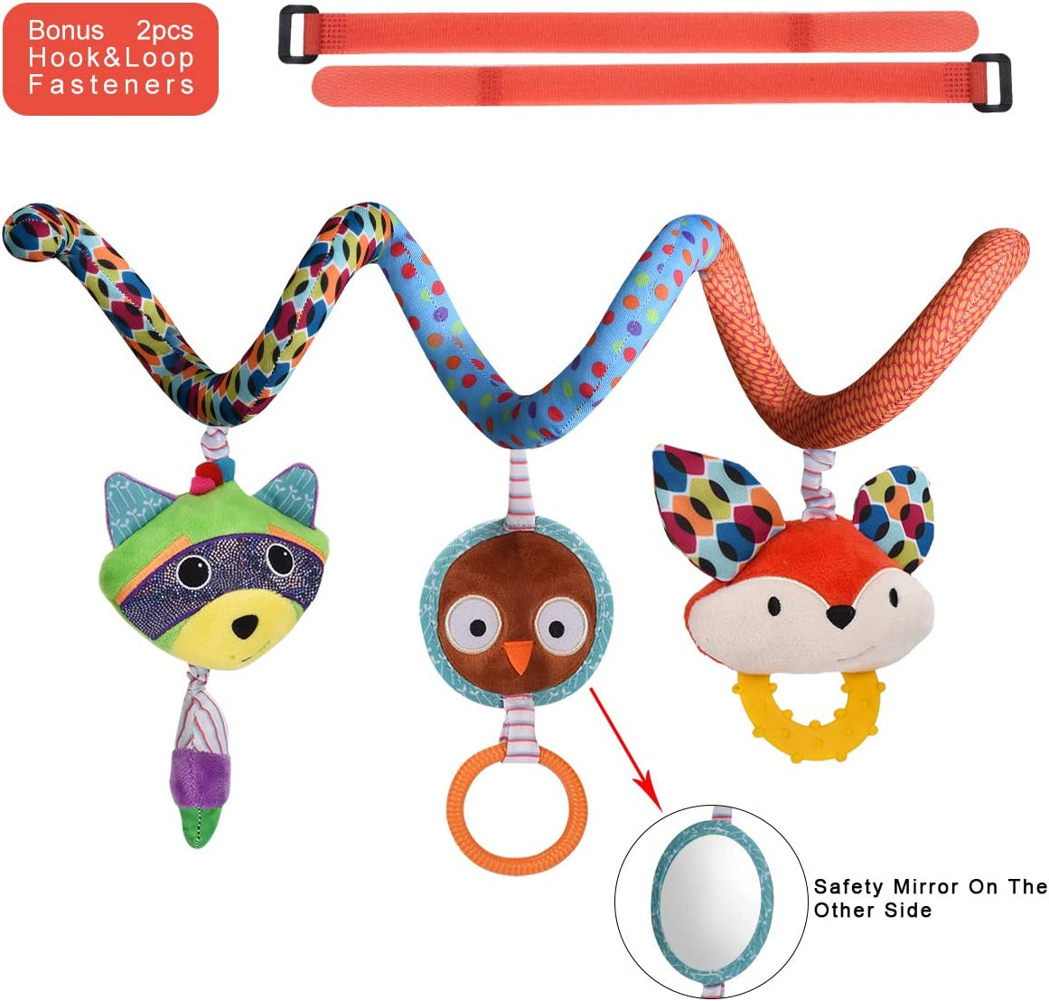 HAHA Baby Car Seat Toys, Infant Boy Girl Stroller Hanging Teething Rattle Learning Spiral Toy Newborn Soft Crib Play Gym Travel Accessories for 0 3 6 9 to 12 Months Old with Mirror, Ring, Teether