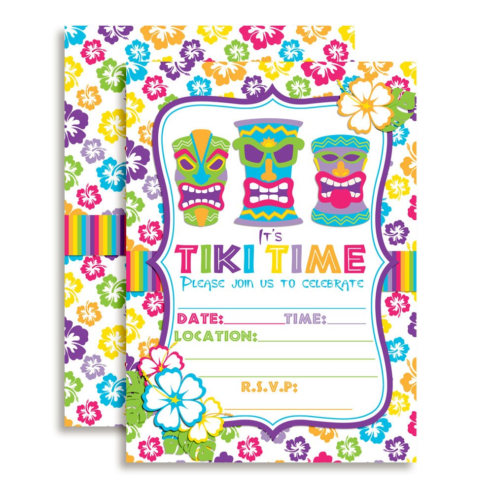 Tiki Time Tropical Luau Birthday Party Invitations set of 10 Fill In Cards Including White Envelopes