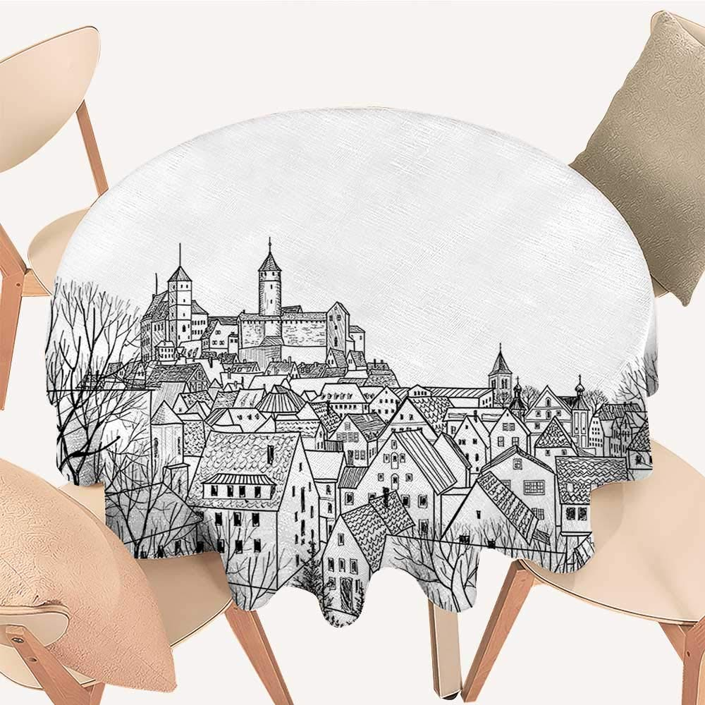 Dragonhome Modern Simple Round Tablecloth Aerial View of A Medieval City with Gothic Roof Tops and Towers for Kitchen, 67 INCH Round